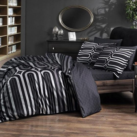 Pierre Cardin Sateen Supreme Bed Linen 6 piece Set, Arches, Graphite