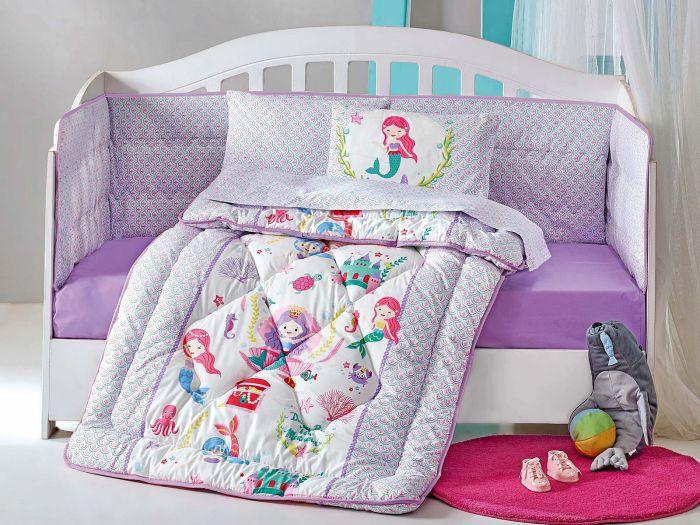 Pure Cotton Baby Bed Linen 6 Pcs Set, Little Mermaid, Violet