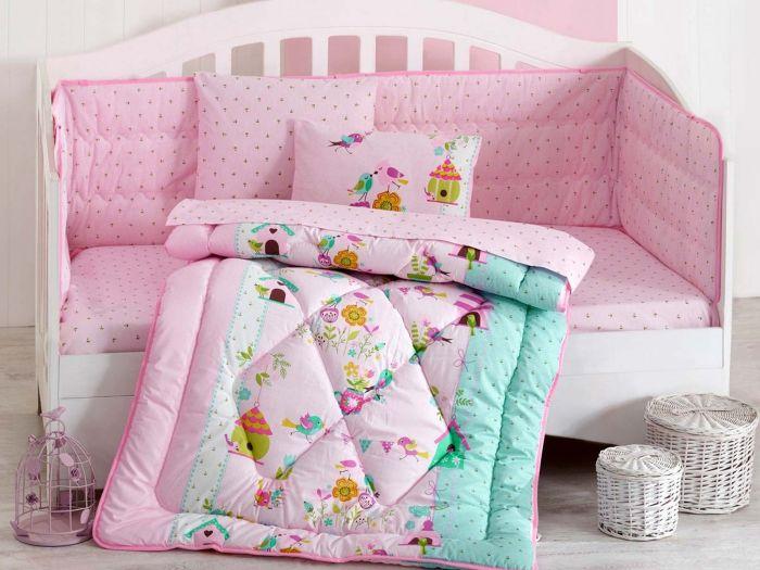 Pure Cotton Baby Bed Linen 6 Pcs Set, Birds, Pink