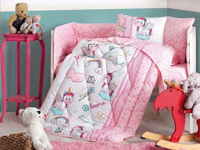 Pure Cotton Baby Bed Linen 6 Pcs Set, Ednorog, Pink
