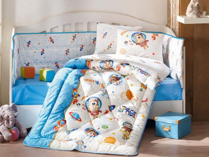 Pure Cotton Baby Bed Linen 6 Pcs Set, Space, Blue