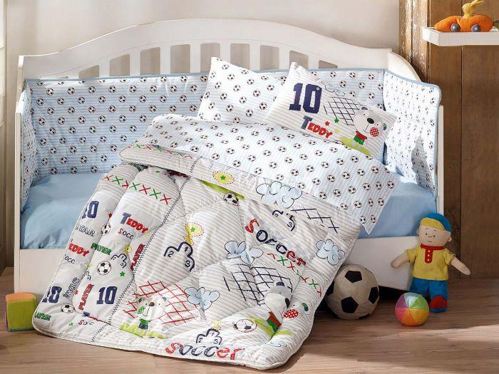 Pure Cotton Baby Bed Linen 6 Pcs Set, Teddy Soccer, Blue