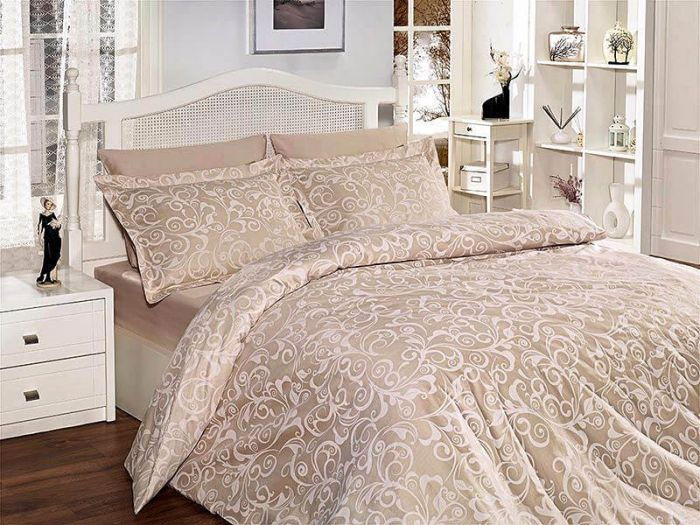 Fine Cotton Sateen Bed Linen 6 pieces Set, Sveta Ecru