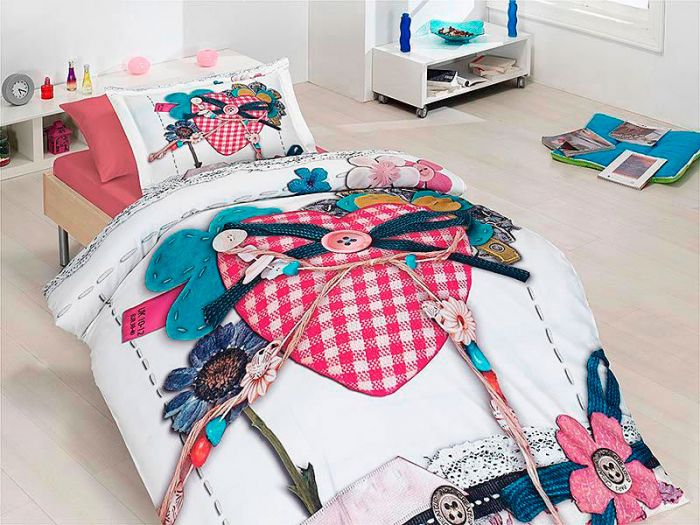 Organic Bamboo Young Bed Linen 4 pieces Set, In Love
