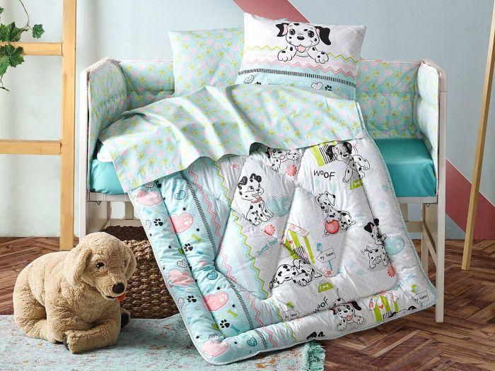 Pure Cotton Baby Bed Linen 6 Pcs Set, Little Dalmatian, Aquamarine