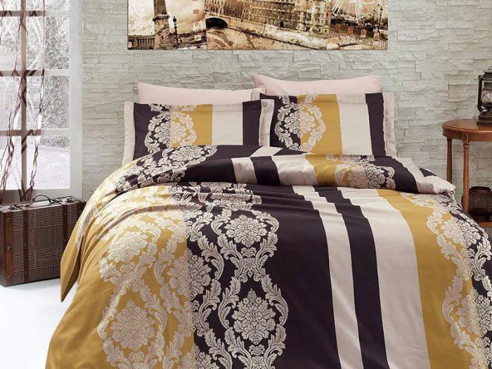 Fine Cotton Sateen Bed Linen 6 pieces Set, Kavin Gold