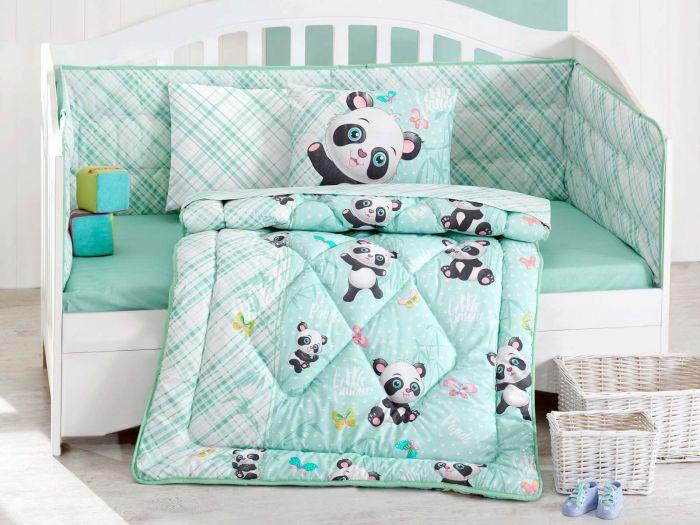 Pure Cotton Baby Bed Linen 6 Pcs Set, Small Panda, Aquamarine
