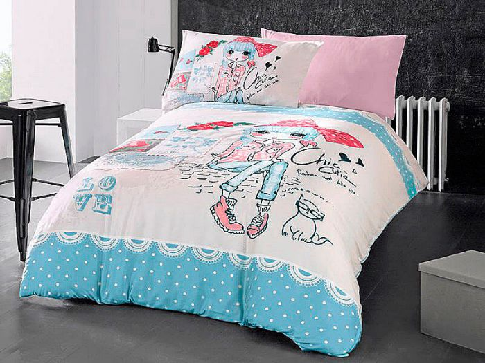 Fine Ranforce Kids Bed Linen 3 pieces Set, Girl and Cat