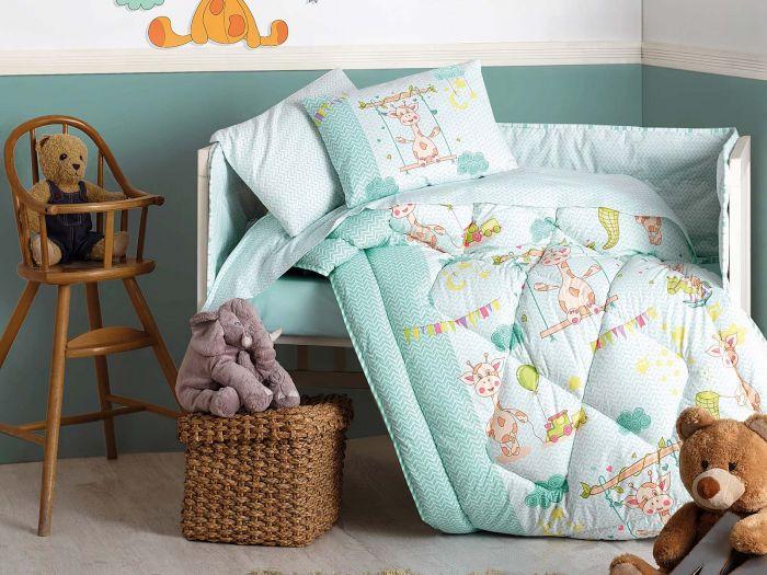 Pure Cotton Baby Bed Linen 6 Pcs Set, Playful Cow, Aquamarine