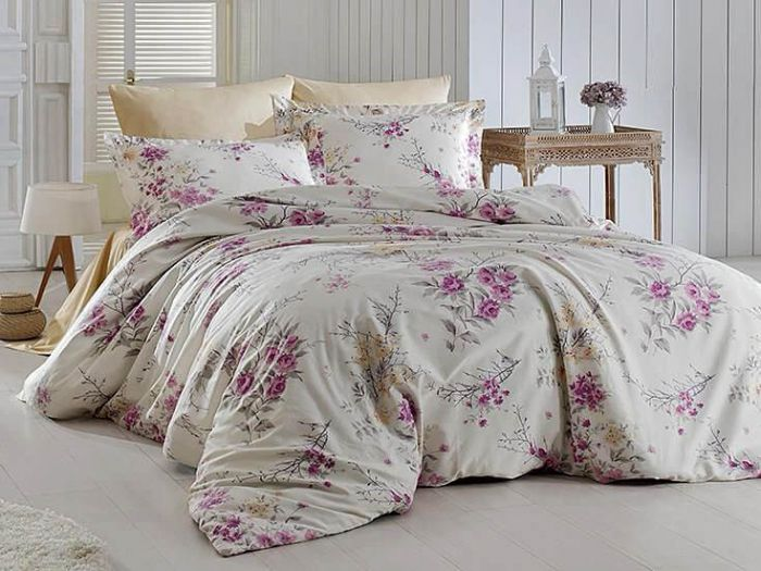 Fine Cotton Sateen Bed Linen 6 pieces Set, Leeana Violet