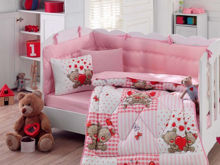 Pure Cotton Baby Bed Linen 6 Pcs Set, Teddy Bears in Love, Pink