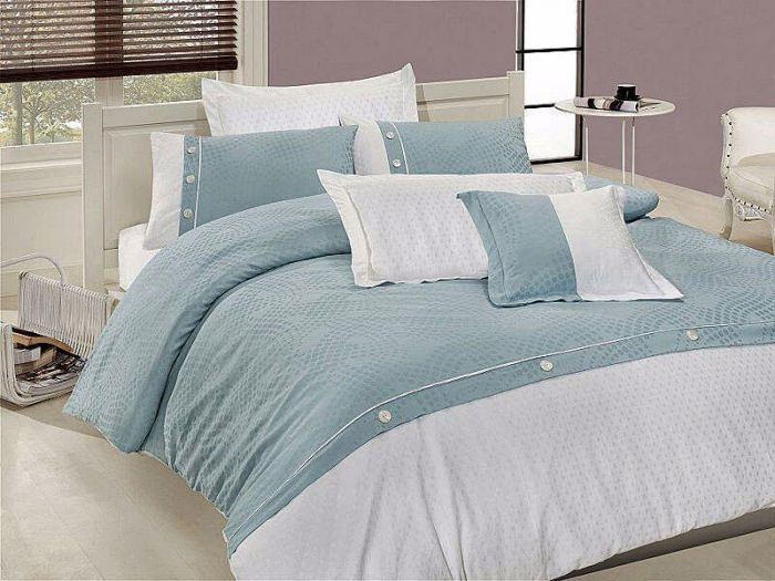 Luxurious Jacquard Sateen Bed Linen 7 pieces Set, Blue Sky
