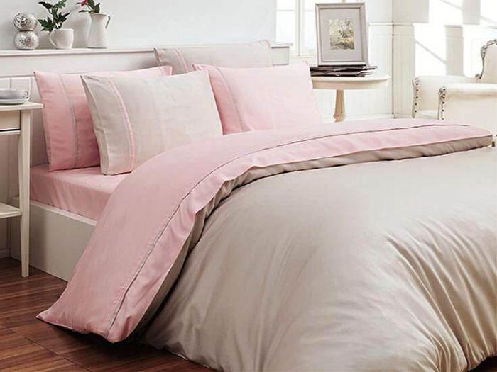 Luxury Cotton Sateen Bed Linen Duet 6 pieces Set, Pink & Grey