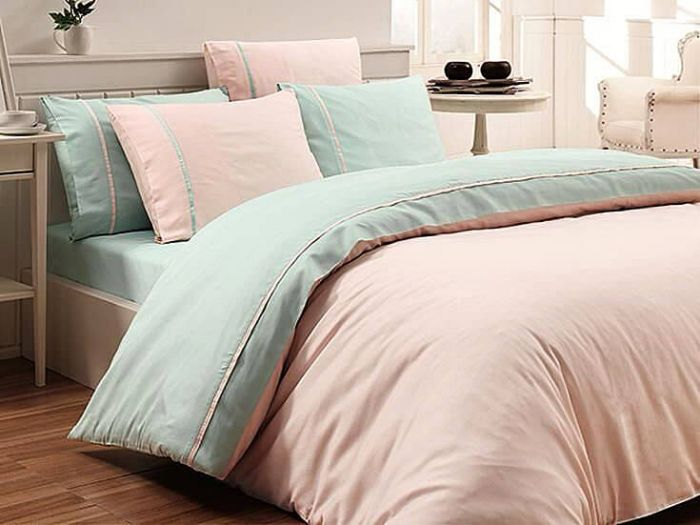 Luxury ine Cotton Sateen Bed Linen Duet 6 pieces Set, Pink & Mint
