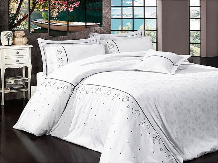 Luxurious Embroidered Sateen Bed Linen 7 pieces Set, Diana White