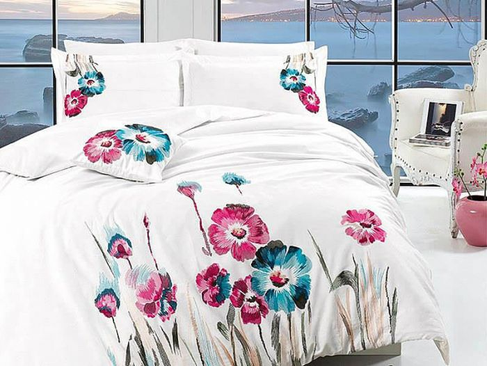 Luxurious Embroidered Sateen Bed Linen 7 pieces Set, Felecia