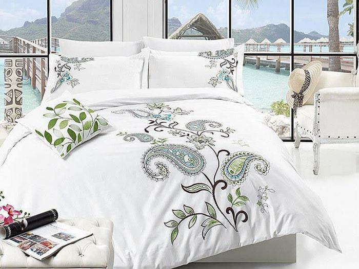 Luxurious Embroidered Sateen Bed Linen 7 pieces Set, Nancy