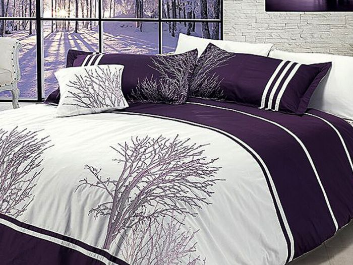 Luxurious Embroidered Sateen Bed Linen 7 pieces Set, Olinda Violet