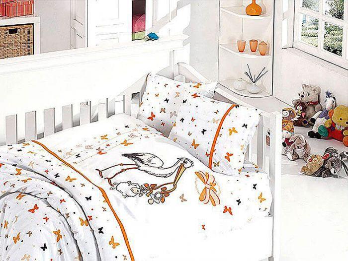 Organic Bamboo Baby Bed Linen Set 4 pieces Stork Orange