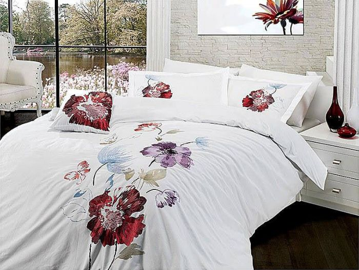 Luxurious Embroidered Sateen Bed Linen 7 pieces Set, Yesenia