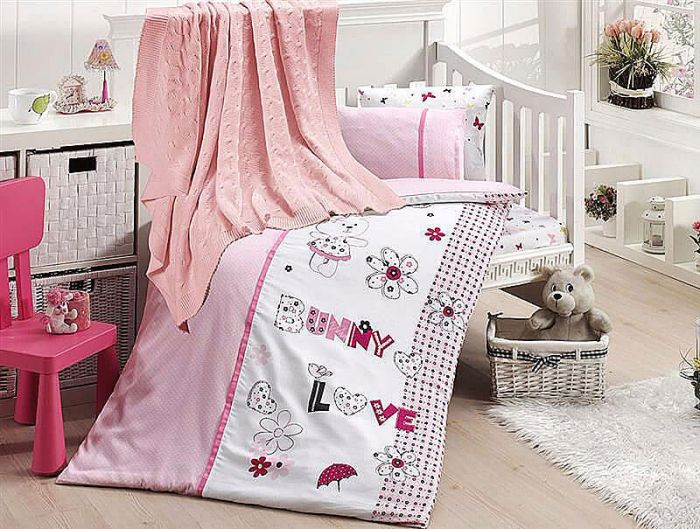 Organic Bamboo Baby Bed Linen Set 5 pieces Bunny Rabbit Pink