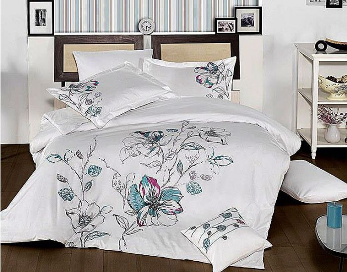 Luxurious Embroidered Sateen Bed Linen 7 pieces Set, Eldora