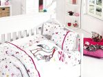Organic Bamboo Baby Bed Linen Set 4 pieces Stork Pink