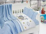Organic Bamboo Baby Bed Linen Set 5 pieces Cute Cat Blue