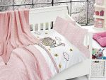 Organic Bamboo Baby Bed Linen Set 5 pieces Cute Cat Pink